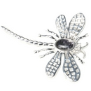 Silver Lace-wing Dragonfly / Blue John Brooch