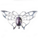 Silver Lace-Winged Butterfly / Blue John Brooch/Pin