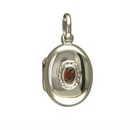 Silver Garnet Oval - Locket and Chain