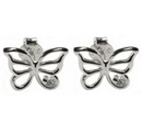 Silver / Cubic Zirconia Butterfly Stud Earrings