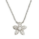 Silver Flower / Cubic Zirconia Necklace