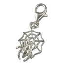 Charms - Silver Spider in Web