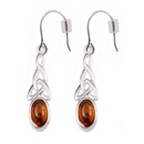 Silver Celt Knot with Amber Earrings