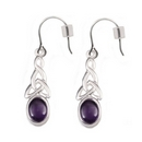 Silver Celt Knot with Amethyst Earrings