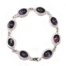 Silver Rope Edge / Derbyshire Blue John Rope Edge Bracelet (Princess)