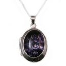 Silver / Blue John (Derbyshire) 'Moments' Locket on Chain