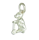 Silver Teddy on a Scooter  Charm/Pendant