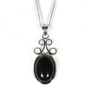 Silver / Onyx Scroll 'Delight' Pendant on Chain