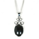 Silver /  Hematite Scroll 'Delight' Pendant on Chain