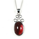 Silver / Garnet Scroll 'Delight' Pendant on Chain