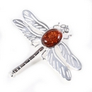 Silver 'Solid Wing' Dragonfly/Amber Brooch