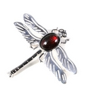 Silver 'Separated Wing' Dragonfly/Garnet Brooch