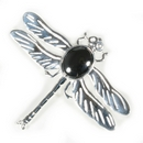 Silver 'Solid Wing' Dragonfly/Hematite Brooch