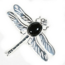 Silver 'Solid Wing' Dragonfly/Onyx Brooch