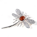 Silver Lace-wing Dragonfly / Amber Brooch
