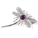 Silver Lace-wing Dragonfly / Amethyst Brooch