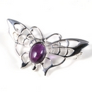 Silver Lace-Winged Butterfly / Amethyst Brooch/Pin