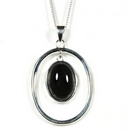 Silver and Onyx Pendant and Chain (Victoriana)