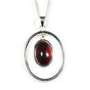 Silver and Garnet Pendant and Chain (Victoriana)