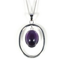 Silver and Amethyst Pendant and Chain (Victoriana)