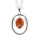 Silver and Amber Pendant and Chain (Victoriana)