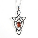 Silver Trinity Celtic Knot with Amber - Pendant and Chain