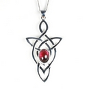 Silver Trinity Celtic Knot with Garnet - Pendant and Chain