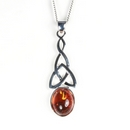 Silver Celtic Drop / Amber Pendant and Chain