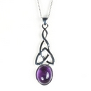 Silver Celtic Drop / Amethyst Pendant and Chain