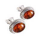 Silver Rope Edged/ Amber Stud Earrings