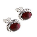 Silver Rope Edged / Garnet Stud Earrings