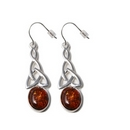 Silver Celtic Drop / Amber Hook Earrings