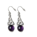 Silver Celtic Drop / Amethyst Hook Earrings