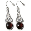 Silver Celtic Drop / Garnet Hook Earrings