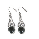 Silver Celtic Drop / Hematite Hook Earrings