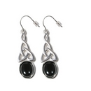 Silver Celtic Drop / Onyx Hook Earrings