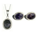 Silver / Blue John (Derbyshire) Rope-Edge Pendant & Chain AND Rope Edge Earrings SET