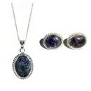 Silver / Blue John (Derbyshire) Rope Edge 'Midi' Pendant and Chain AND Earrings SET