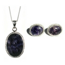 Silver / Blue John (Derbyshire) Rope Edge 'Signature' Pendant & Chain WITH Earrings SET
