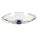 Silver Celtic Bangle with Amethyst