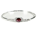 Silver Celtic Bangle with Garnet