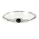 'Celtic Wish' Silver Bangle with Onyx