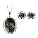 Silver / Blue John Loop-Edge Pendant & Earrings SET