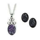 Silver / Blue John Pendant 'Delight'  WITH Earrings SET
