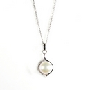 Silver with Fresh Water Pearl and Cubic Zirconia (Pendant and Chain)