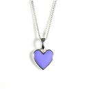 Silver / Purple Enamel Heart (Pendant and Chain)