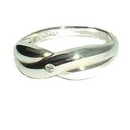 Silver / CZ Cross-over Ring