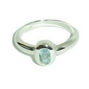 Silver with Oval Topaz Ring