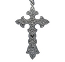 Ornate Large Silver Cross on Chain