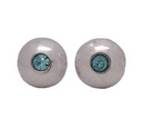 Silver/Blue CZ Stud Earrings